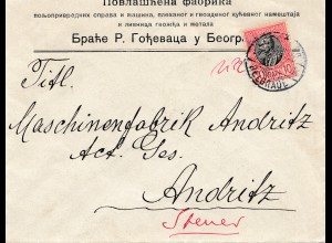 Serbien: ca. 1910, Brief nach Andritz
