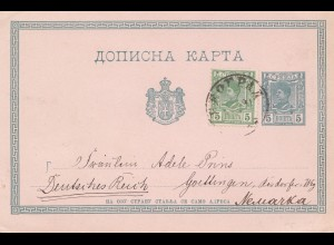 Serbien: 1890: Ganzsache nach Neuarka/Göttingen
