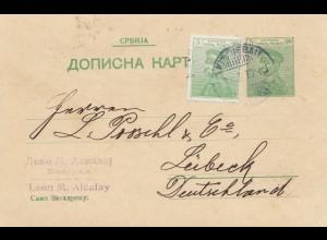 Serbien: 1913: Ganzsache nach Lübeck
