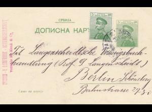 Serbien: 1911: Ganzsache nach Berlin - Langenscheidt