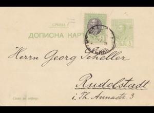 Serbien: 1909: Ganzsache nach Rudolstadt