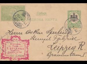 Serbien: 1909: Ganzsache nach Leipzig