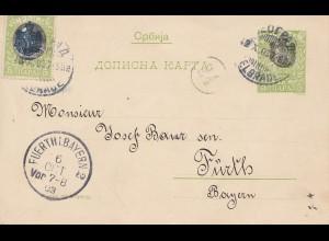 Serbien: 1903: Ganzsache nach Fürth