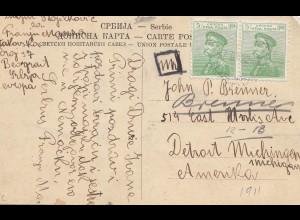 Serbien: 1922: Ansichtskarte Belgrad nach USA