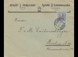 Serbien: 1910: Brief aus Belgrad nach Berlin