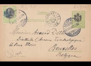 Serbien: 1903: Ganzsache nach Brüssel