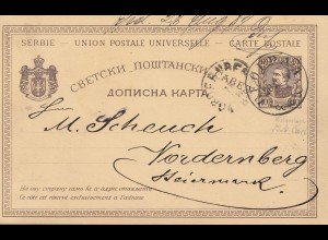Serbien: 1918: Ganzsache nach Nordernberg/Steiermark