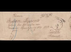 Serbien: 1887: Brief von Belgrad nach Zürich