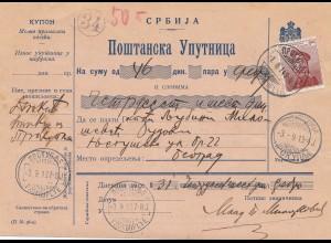 Serbien: 1913: Paketkarte nach Belgrad, geprüft