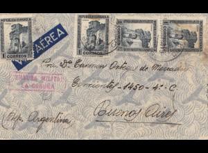 Spanien: 1937: Luftpost nach Argentinien, Militär Zensur
