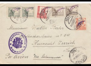 Spanien: 1937: Brief Burgos nach Kusnacht/Zürich, Zensur