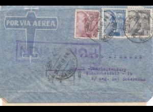 Spanien: 1940: Luftpost Madrid nach Berlin, OKW Zensur, spanische Militär Zensur