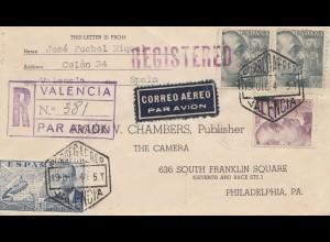 Spanien: 1940: Einschreiben Valencia nach USA, Luftpost