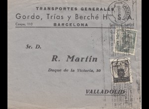 Spanien: 1945: Brief aus Barcelona nach Valladolid