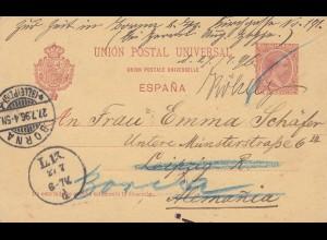 Spanien: 1896: Ganzsache nach Leipzig/Borna