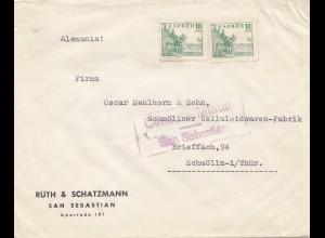 Spanien: Brief San Sebastian nach Schmölln, Zensur