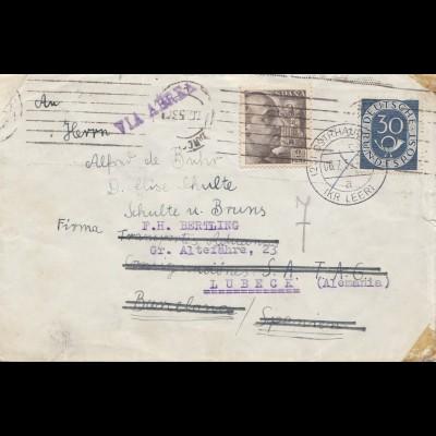 Spanien: 1953: Brief Ostrhausen nach Lübeck - dann Barcelona