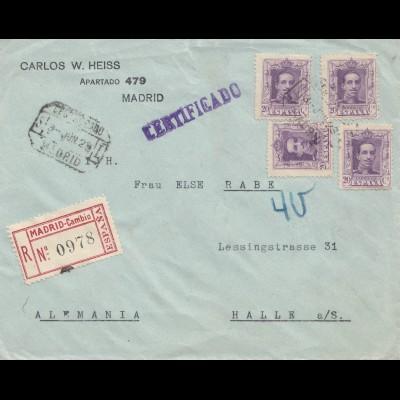 Spanien: 1923: Einschreiben Madrid nach Halle
