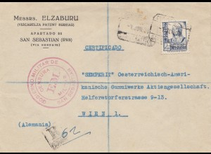 Spanien: 1936: San Sebastian nac Wien, Einschreiben, Zensur