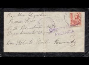 Spanien: 1937: Brief nach Argeninien, Zensur Palencia