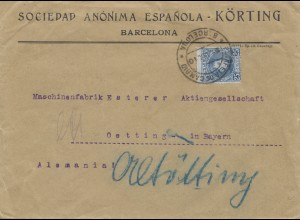 Spanien: 1910: Brief aus Barcelona nach Oetting