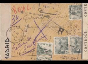 Spanien: 1944: Brief aus Madrid und zurück, viele Zensurstempel