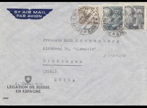 Spanien: 1938: Luftpost nach Binningen/Schweiz, Absender Legation de Suisse