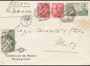 Spanien: 1941: Schweizer Konsulat Barcelona nach Metz, Zensur