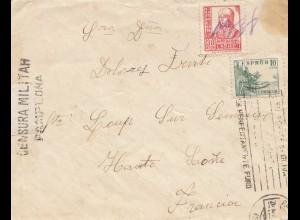 Spanien: 1938: Brief nach Frankreich, Zensur