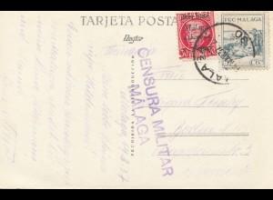 Spanien: 1937: Ansichtskarte Malaga nach Berlin, Zensur
