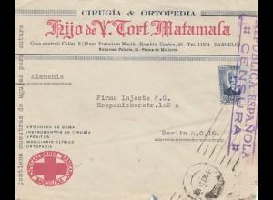 Spanien: Brief aus Palma nach Berlin, Zensur