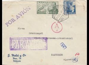 Spanien: 1944: Luftpost Valentia nach Mannheim Zensur