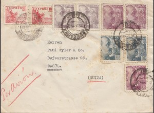 Spanien: 1940: Barcelona nach Basel, Luftpost, Zensur