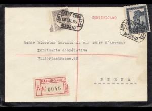 Spanien: 1935: Einschreiben Madrid nach Bern