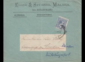 Spanien: Brief aus Malaga nach Dresden