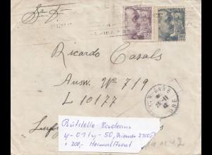 Spanien:1942 Brief an Luftgaupostamt Paris (L10177), seltener Zensurstempel OKW