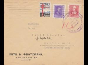 Spanien: 1938: Brief von San Sebastian nach Berlin, Zensur