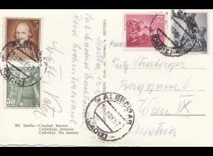 Spanien: 1957: Ansichtskarte Sevilla nach Wien