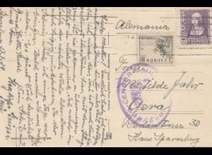 Spanien: 1939: Ansichtskarte Barcelona nach Gera, Zensur