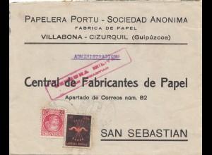 Spanien: Brief aus Villabona nach San Sebastian