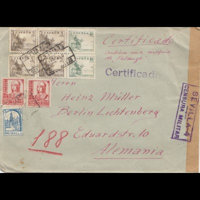 Spanien: 1937: Brief aus Sevilla nach Berlin, Zensur