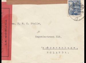 Spanien: 1939: Coruna nach Holland mit Briefinhalt, Zensur