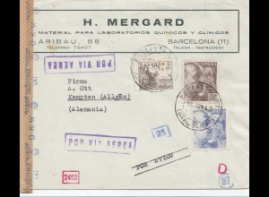 Spanien: 1943: Brief von Barcelona nach Kempten, OKW Zensur