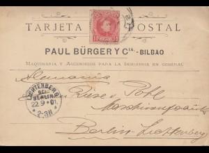 Spanien: 1901: Postkarte Bilbao nach Berlin