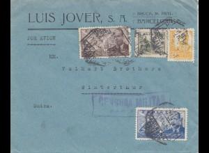 Spanien: 1937: Barcelona nach Winterthur, Zensur