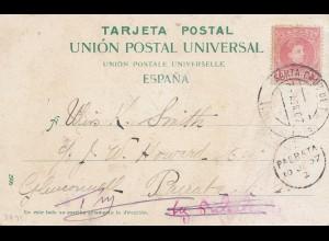 Spanien: 1907: Ansichtskarte Teneriffa nach New Zealand