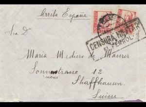 Spanien: 1937: Brief nach Schaffhausen, Zensur