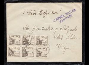 Spanien: 1938: Brief von Santiago nach Vigo