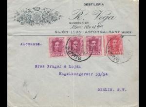 Spanien: Brief von Valencia, Destileria nach Berlin