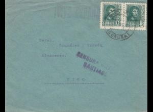 Spanien: 1940: Brief von Santiago nach Vigo, Zensur